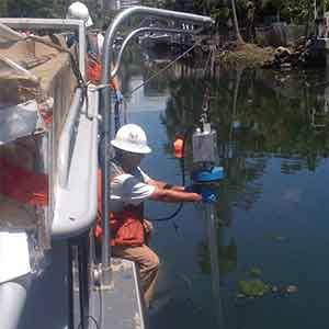 image of Hydrographic river survey in Lake Rowell