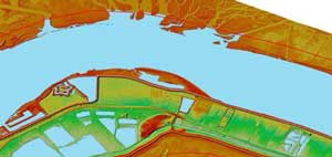 image of LiDAR project in the Old River to Venice, LA for USACE, New Orleans District